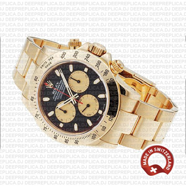 Rolex Daytona Gold Black Dial 40mm Swiss Replica Watch