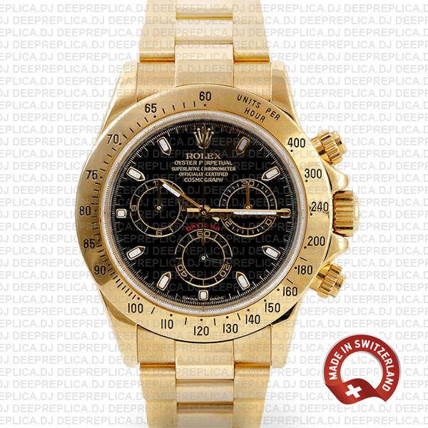 Rolex Daytona Yellow Gold Black Dial Rolex Replica Watch