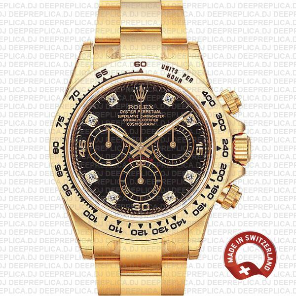 Rolex Daytona Cosmograph Gold Black Diamond Dial Replica