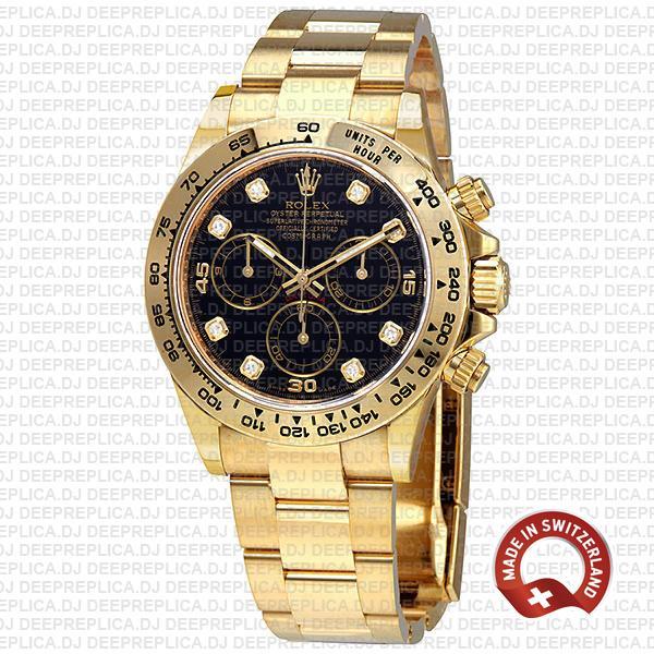 Rolex Cosmograph Daytona 18k Yellow Gold/904l Steel Black Diamond Dial 40mm Ref:116508 Swiss Replica Watch