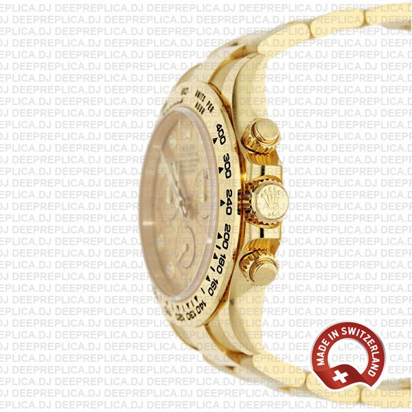 Rolex Cosmograph Daytona 18k Yellow Gold/904l Steel Diamond Gold Dial 40mm Ref:116508 Swiss Replica Watch