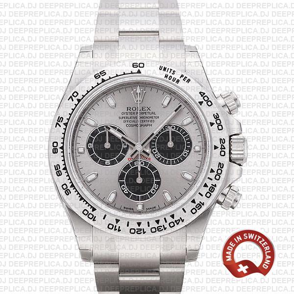 Rolex Daytona 18k White Gold Steel Dial 40mm | Replica Watch