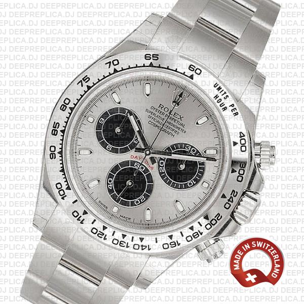Rolex Oyster Perpetual Daytona 18k White Gold, Steel Panda Dial with Black Subdials, Stainless Steel Oyster Bracelet Replica Watch