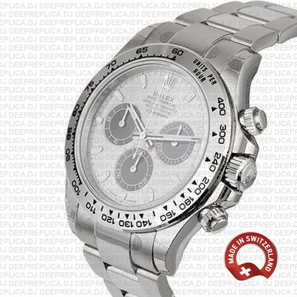 Rolex Daytona 18k White Gold Steel Dial 40mm Replica Watch