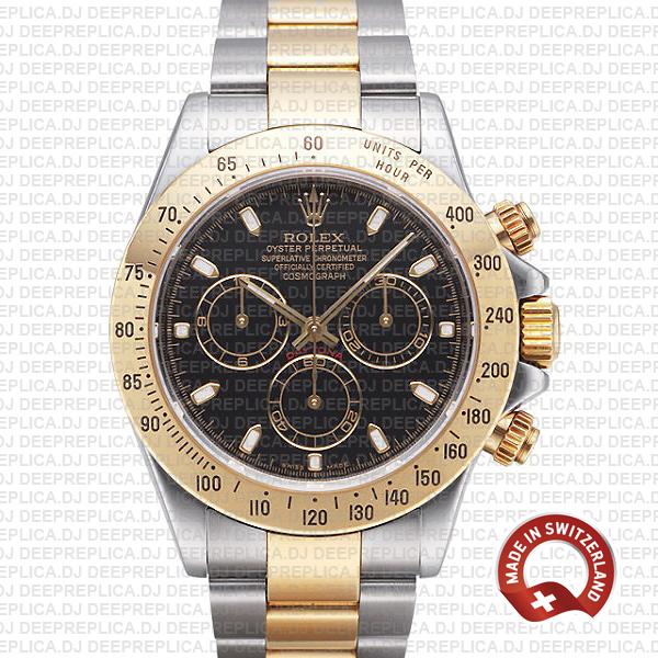 Rolex Daytona Two-Tone Black Dial | Best Rolex Clone Watch