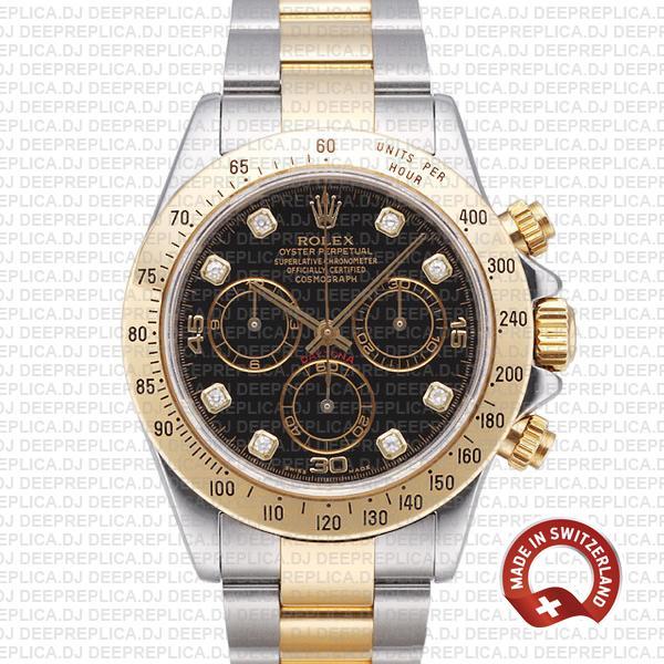 Rolex Daytona Two-Tone Black Diamond Dial | Replica Watch