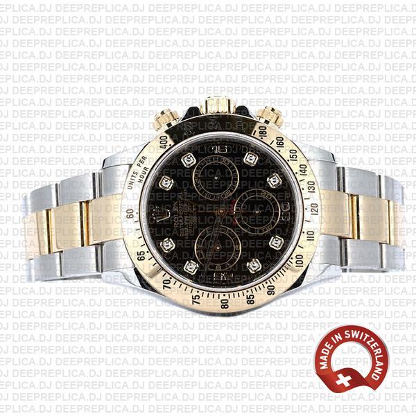 Rolex Cosmograph Daytona 18k Yellow Gold Stainless Steel 40mm Two-Tone Black Diamond Dial