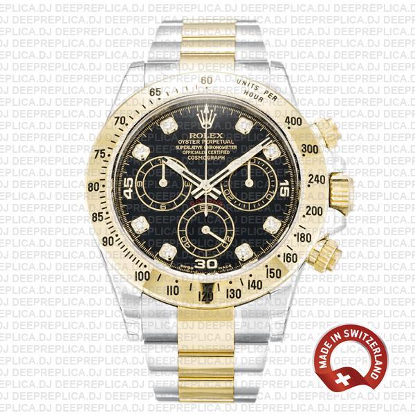 Rolex Daytona Two-Tone Black Dial Best Rolex Clone Watch