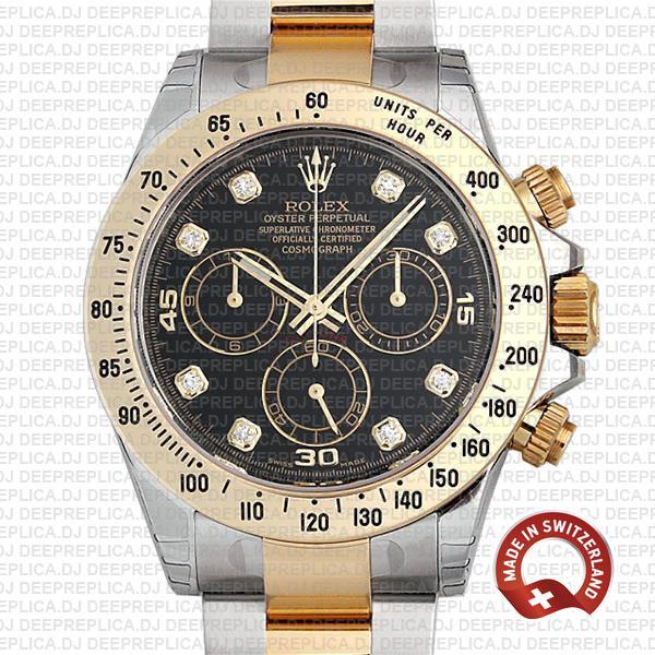 Rolex Daytona Two-Tone Black Diamond Dial Replica Watch