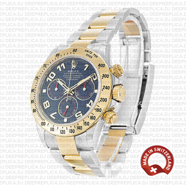 Rolex Oyster Perpetual Cosmograph Daytona 40mm Two-Tone 18k Yellow Gold, 904L Steel Watch in Blue Arabic Dial Replica Watch
