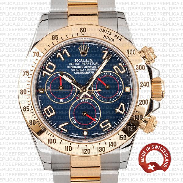Rolex Daytona Two-Tone Blue Arabic Dial Best Clone Rolex Watch