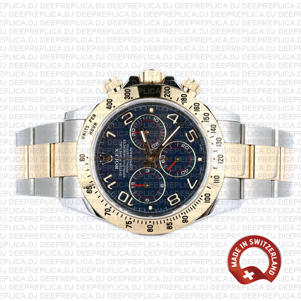 Rolex Oyster Perpetual Cosmograph Daytona 40mm Two-Tone 18k Yellow Gold, 904L Steel Watch in Blue Arabic Dial