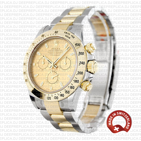 Rolex Replica Cosmograph Daytona 18k Yellow Gold in Two-Tone with Gold Dial 904L Steel Oyster Perpetual Watch