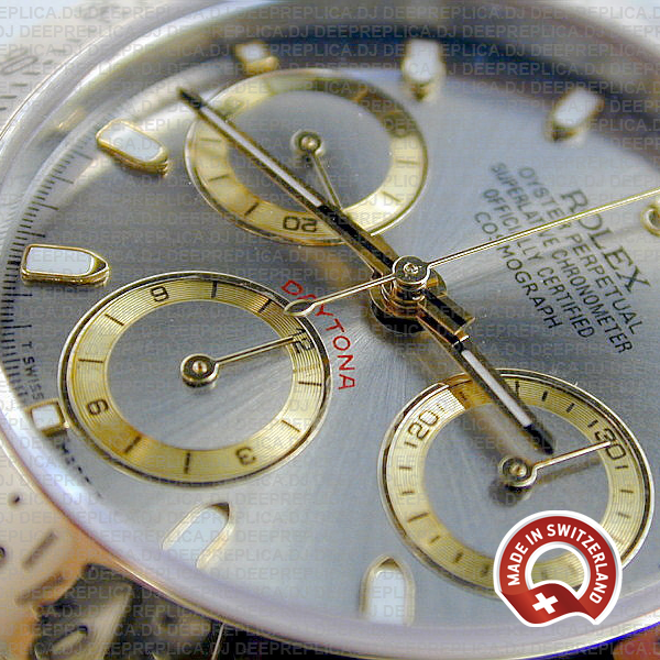 Rolex Daytona 18k Yellow Gold Two-Tone Grey Dial 40mm Replica Watch with Oyster Bracelet 904L Steel Replica Watch