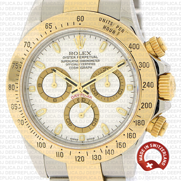 High Quality Rolex Cosmograph Daytona Two-Tone Gold 904L Steel White Dial Replica Watch