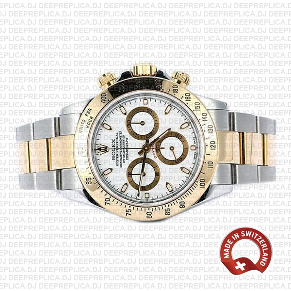 High Quality Rolex Cosmograph Daytona Two-Tone Gold 904L Steel White Dial Replica
