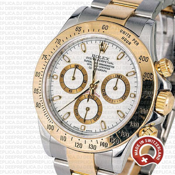 Rolex Daytona Two-Tone 18k Yellow Gold Best Swiss Replica Watch