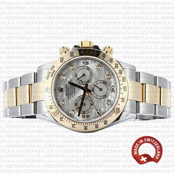 Rolex Cosmograph Daytona Gold 904L Steel Two-Tone White Mop Diamond Dial Replica Watch