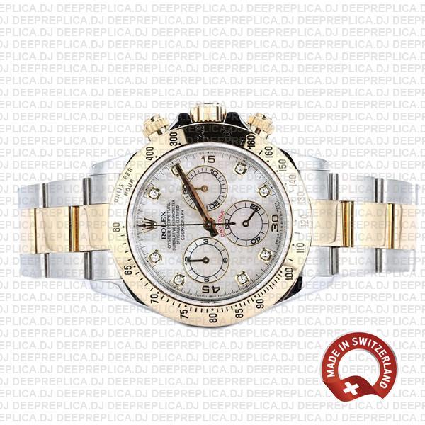 Rolex Cosmograph Daytona Gold 904L Steel Two-Tone White Mop Diamond Dial Replica
