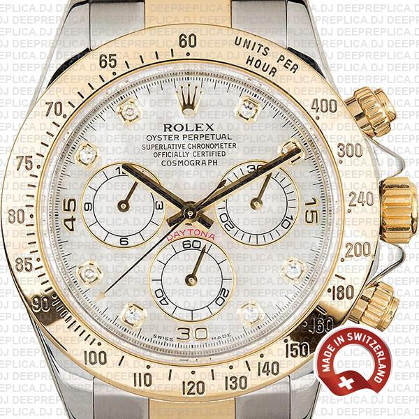 Rolex Daytona White Diamond Dial Two-Tone Yellow Gold Watch