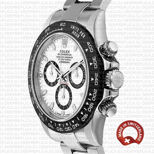 Rolex Daytona Stainless Steel White Dial Swiss Replica Watch