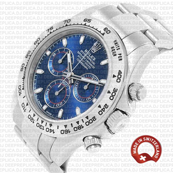 Rolex Cosmograph Daytona 18k White Gold Blue Dial 40mm Stainless Steel Swiss Replica Watch