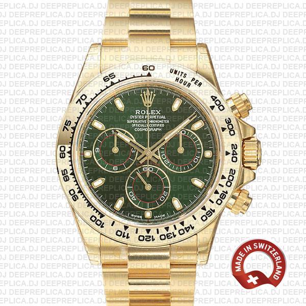 Rolex Daytona Yellow Gold Green Dial | Rolex Replica Watch