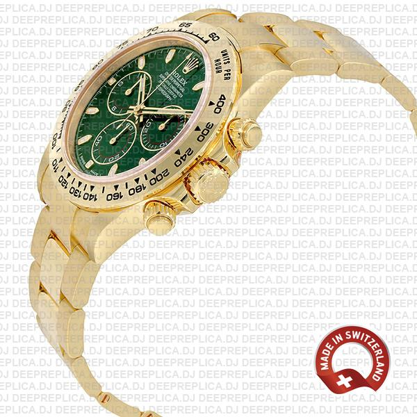 Rolex Daytona 40mm 18k Yellow Gold Green Dial with Subdials 904L Stainless Steel Oyster Bracelet