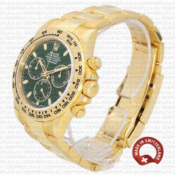 Rolex Daytona Yellow Gold Green Dial Rolex Replica Watch