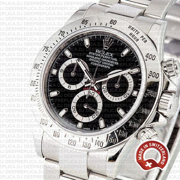 Rolex Daytona 18k White Gold Black Dial Swiss Replica Watch