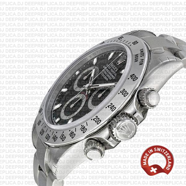 Rolex Cosmograph Daytona Black Dial Rolex Replica Watch with 904L Stainless Steel Oyster Bracelet 40mm