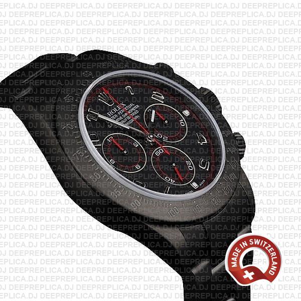 Rolex Cosmograph Daytona DLC Black Dial Steel Arabic numeral Markers 904L Steel