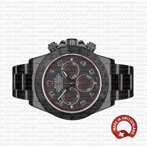 Rolex Cosmograph Daytona DLC Black Dial Steel Arabic numeral Markers 904L Steel Replica Watch