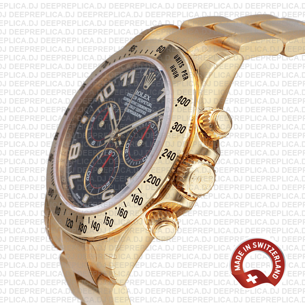Rolex Cosmograph Daytona 18k Yellow Gold Blue Arabic Dial 40mm with Oyster Bracelet Replica Watch
