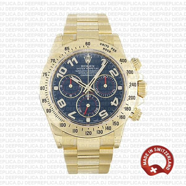 Rolex Cosmograph Daytona 18k Yellow Gold Blue Arabic Dial 40mm with Oyster Bracelet Replica