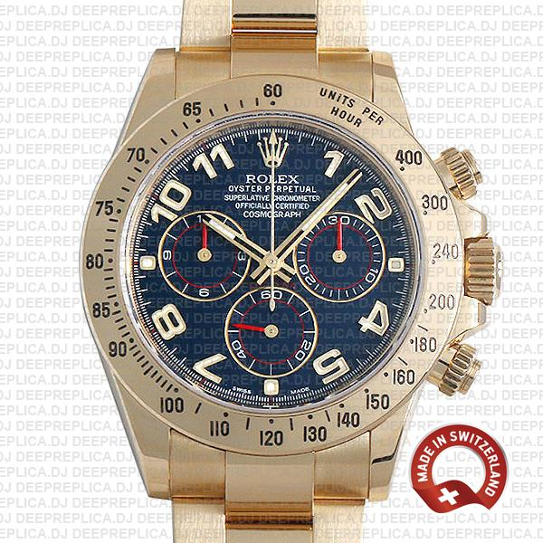 Rolex Cosmograph Daytona 18k Yellow Gold Blue Arabic Dial 40mm with Oyster Bracelet