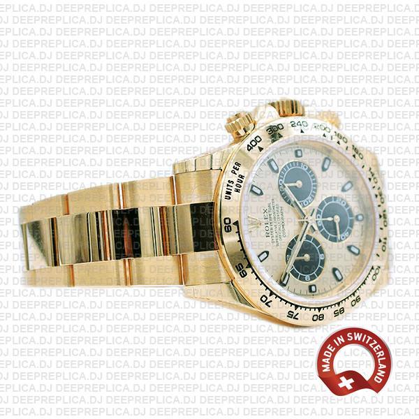 Rolex Daytona Gold Dial Stainless Steel Best Replica Watch