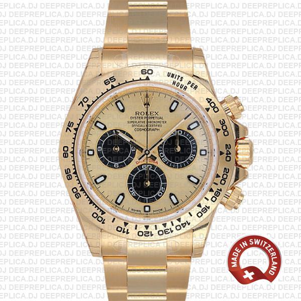 Rolex Daytona Gold Dial Stainless Steel Best Swiss Replica Watch