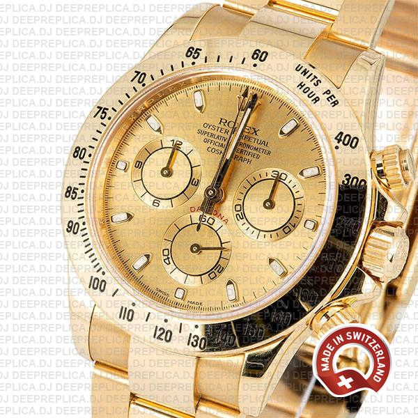 Rolex Oyster Perpetual Daytona 18k Yellow Gold, Stainless Steel Gold Dial 40mm in Oyster Bracelet Swiss Replica Watch