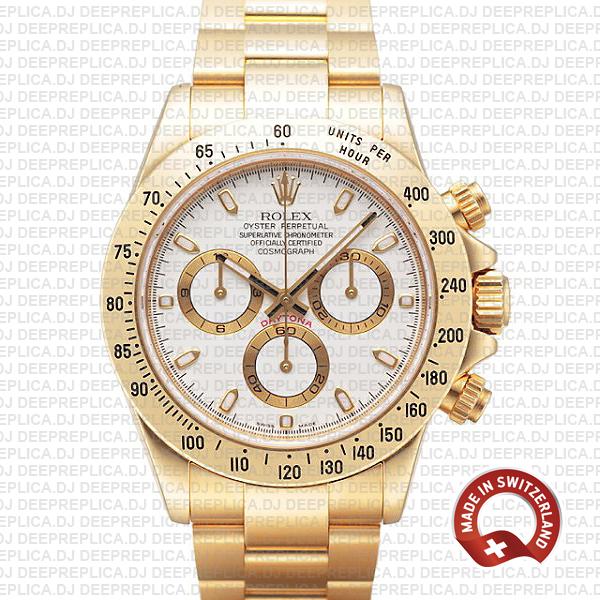 Rolex Daytona 18k Yellow Gold White Dial | Rolex Replica Watch