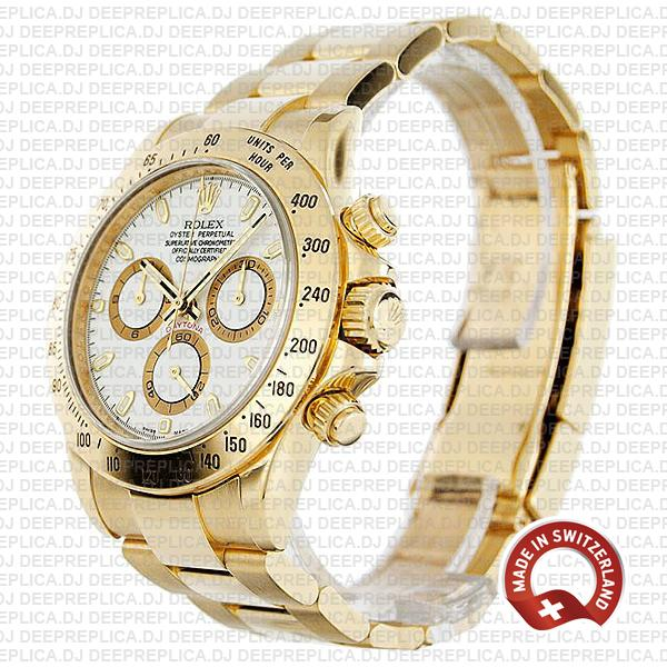 Rolex Cosmograph Daytona 18k Yellow Gold 904L Stainless Steel with Oyster Bracelet 116528 Swiss Replica Watch