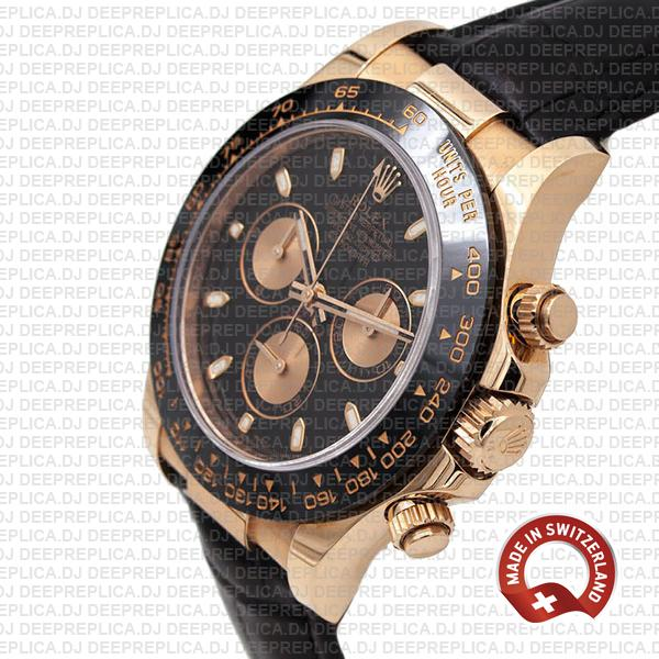 Rolex Cosmograph Daytona 18k Rose Gold Black Dial, comes with Leather Band Replica Watch 40mm