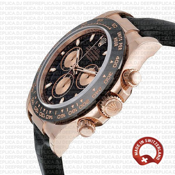 Rolex Daytona Rose Gold Black Dial Best Swiss Replica Watch