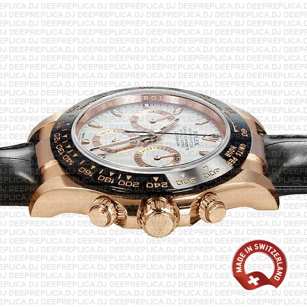 Rolex Daytona 18k Rose Gold 904L Stainless Steel White Ivory Dial with & Leather Strap 40mm