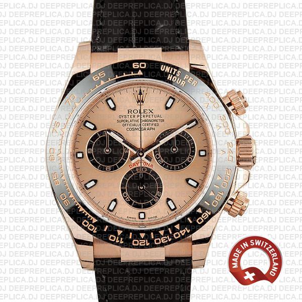Rolex Daytona Leather Rose Gold Pink Black Ceramic 40mm 116515 Swiss Replica