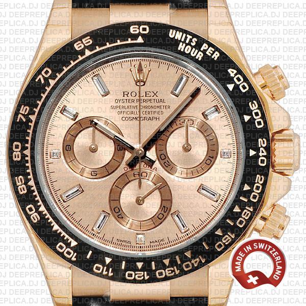 Rolex Daytona Leather Rose Gold Pink Diamond Ceramic 40mm 116515 Swiss Replica