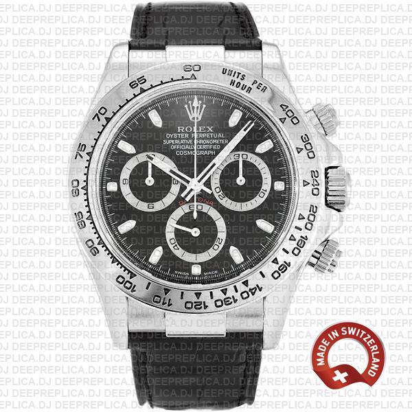 Rolex Daytona White Gold Black Dial | Best Clone Rolex Watch