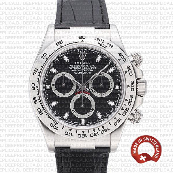 Rolex Daytona White Gold Black Dial Best Clone Rolex Watch