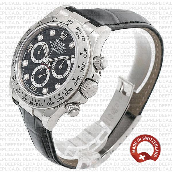 Rolex Oyster Perpetual Cosmograph Daytona 18k White Gold Black Diamond Dial Leather Strap 40mm