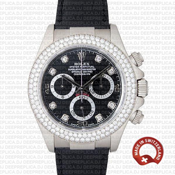 Rolex Daytona 18k White Gold Diamond Bezel | Luxury Replica